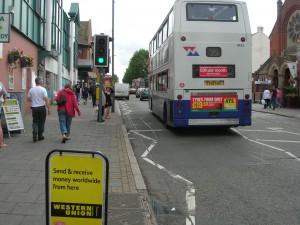 Another double decker bus in barrier free Kings Heath - we often saw 3-4 at a time.
