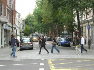 Kensington - side streets have cars and pedestrians mingling freely