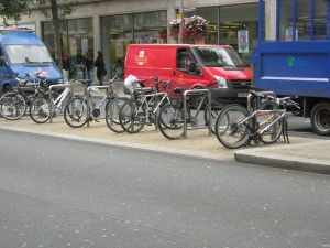 Kensington - bicycle storage in road