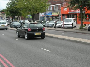 Stratford Road, Shirley - Red Route - note parking in background, minimal street furniture