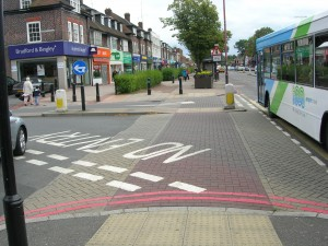 Shirley, Stratford Road, Side Road with raised surface and blister paving for visually impaired