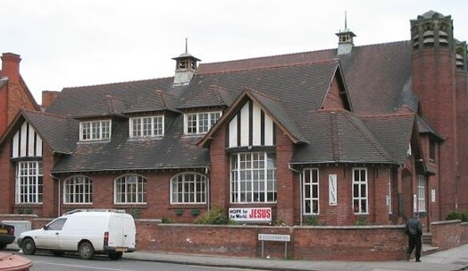 Acocks Green Baptist Church Hall - Side and Front Elivation, in context with AG Baptist Church