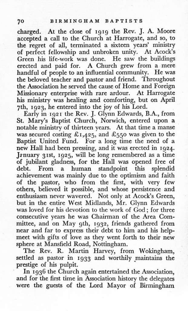 J. Glynn Edwards & the Glynn Edwards Hall (from Arthur S. Langley, Birmingham Baptists Past & Present