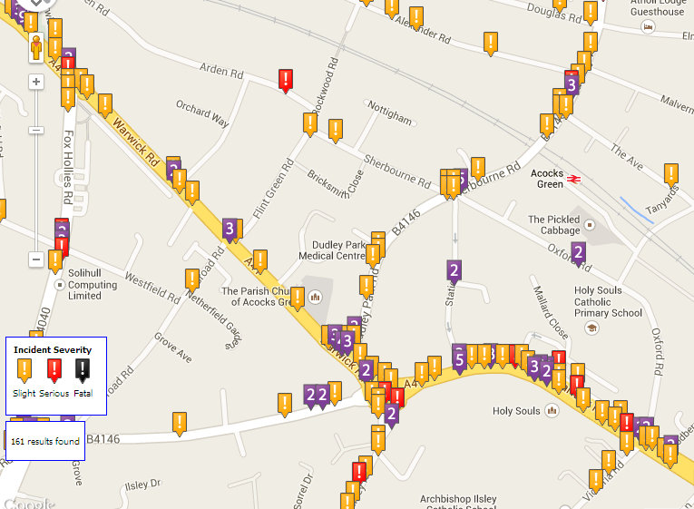 Crash Map - Acocks Green Centre