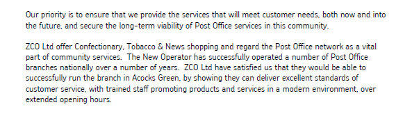 What The Post Office organisation letter says about ZCO