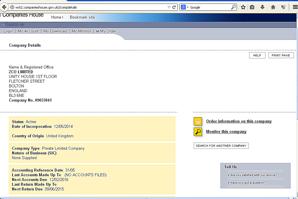 ZCO Ltd - Companies House Entry - Screenshot