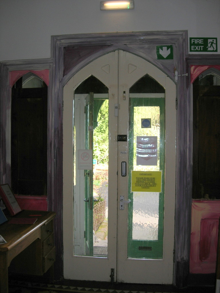 Eastbourne House - doorway with Gothic panels