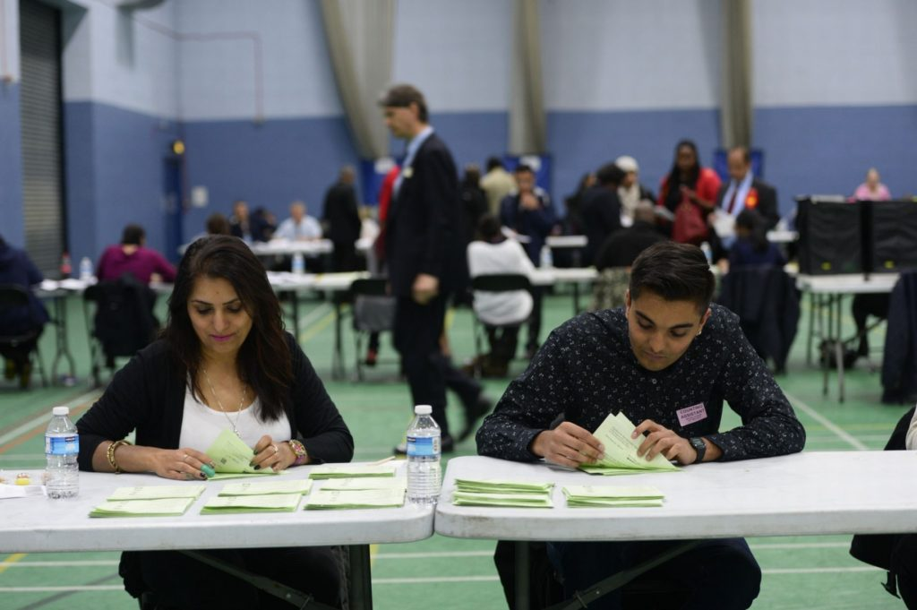 Votes being counted at the National Indoor Arena (B.ham Mail)